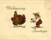 Antique Vintage Gibson Thanksgiving Postcard Used