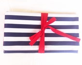 Blue and white striped clutch, navy bag, elegant, bow clutch bag, red ribbon, cotton fabric