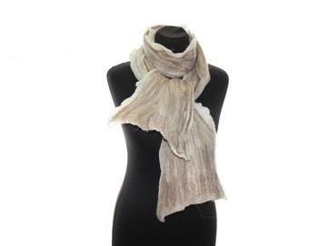 Wool felt scarf / Felted Scarf / Alpaca Scarf /  Natural Undyed Beige Scarf / Unisex scarf / Winter Scarf /  white beige brown
