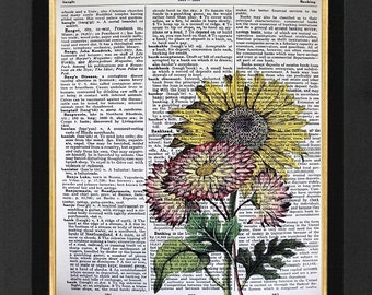 Sunflower Marigold Prints Mixed Media art print on 8x10 Vintage Dictionary page, Dictionary print, Sunflower Marigold Vintage Botanical