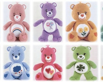 75% OFF Sale! Adorable Colourful Care Bears Amigurumi Pattern: INSTANT DOWNLOAD Teddy Bears
