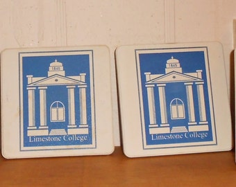 Coasters Limestone College stone coaster set of 4 vintage 1980s housewares