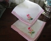 Napkins Luncheon Cotton Embroidered Flowers Four (4)  Vintage Luncheon tea