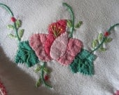 3 Vintage cotton white napkins hand embroidered and appliqued with flowers