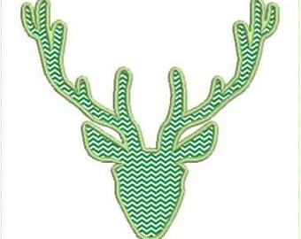 Deer Antler Applique Machine Embroidery Design 4x4 & 5x7 Hoop Bernina Viking Pfaff Babylock Janome Elna and More