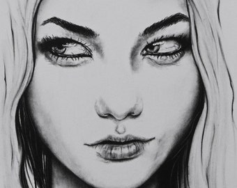 Original Charcoal Pencil Graphite Drawing of Karlie Kloss Portrait Fashion Illustration