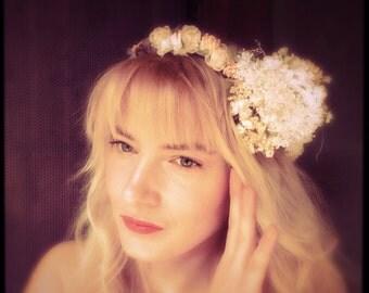 wedding flower headband crown white pink bridal hair headpiece