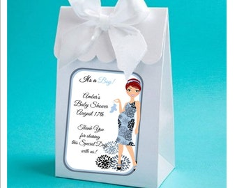 Personalized expectant mommy baby boy shower favor boxes - baby boy shower favors, baby shower favor box - set of 12