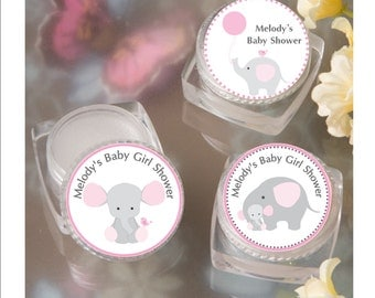 Lip Balm Baby Shower Favor - personalized- pink elephant theme baby shower favor -  set of 12 favors with personalized label