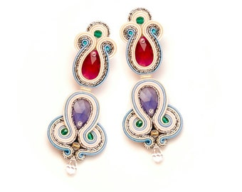 Indian crystal earrings large and unique. Oriental, ruby tanzanite earrings for wedding. Statement wedding earrings for bride and bridesmaid