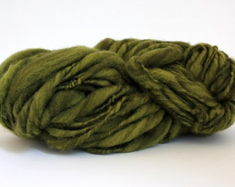 Thick and Thin Melange  Hand Spun  Super Chunky Wool Yarn   Olive/ Lima Bean Color