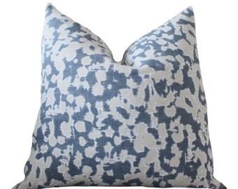 Indigo Blue - Schumacher Blue Linen Pillow Cover - Blue Geometric Scroll Pillow Cover - Blue Grey Pillow - Throw Pillow - Rain Dance