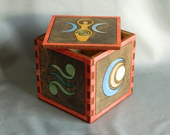 Feminine Goddess Hardwood Inlay Box - Divine Feminine - Celtic Symbols - Life, Renewal, Mother