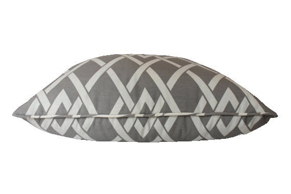 Outdoor Pillow Cover, Grey and Ivory Trellis Design, Matching Piping