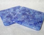 Blue Swirl Fused Glass Coasters - Pair