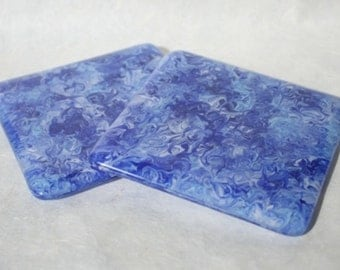 Blue Swirl Fused Glass Coasters - Pair