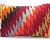 "MODERN Bohemian Home Decor,Handwoven Turkish Kilim Lumbar Pillow Cover 20"" X 14"", Orange Color Kilim Pillow,Lumbar Kilim Pillow,Throw Pillow"