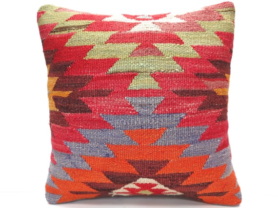 "FREE Shipping / Home Decor,Handwoven Turkish Area Rug Kilim Pillow Cover 16"" X 16"",Decorative Rug Pillow,Vintage Rug Pillow,Throw Pillow"