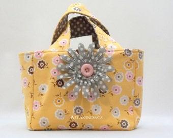 Yellow, Pink and Grey Floral Polka Dot Small Purse/Tote/ Scripture bag