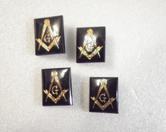 4 Jet Black Masonic 12x10mm Faceted Glass Stones