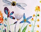 Bees Flowers Landscape Painting Watercolor Ink Landscape Decor Blue Purple Orange Yellow Bees Landscape Wall Art Landscape Fine Art Nature