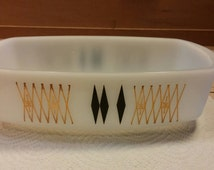 Federal Milk Glass ATOMIC Small CASSEROLE DISH