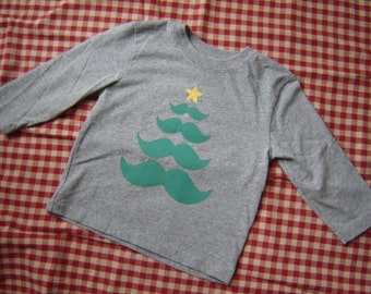 Custom Mustache Christmas Tree Shirt - Gray or Black - Moustache - Long Sleeves - Holidays - Little Man - Limited Quantities