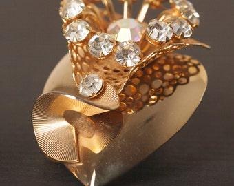 Vintage Gold Tone and Aurora Borealis Rhinestone Brooch and Earring Set