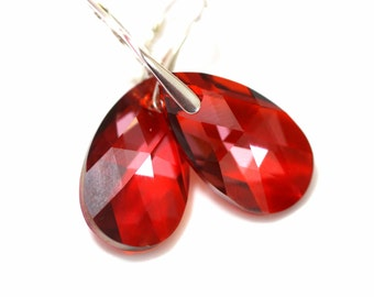 Red Earrings Swarovski Crystal Teardrop Earrings Bridal Earrings Sterling Silver Leverback Bridesmaid Earrings Valentine's Day Jewelry RM32