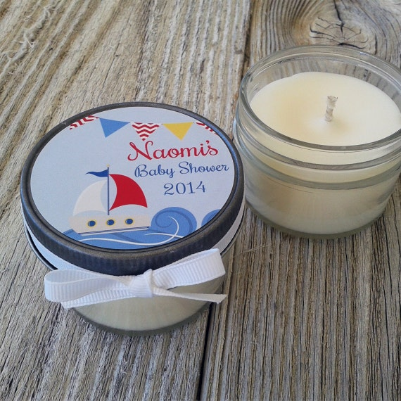 Set of 12 - 4 oz Baby Shower Candle Favor - Soy - Personalized Baby Shower  Favors // Nautical Boat Baby Shower Favors