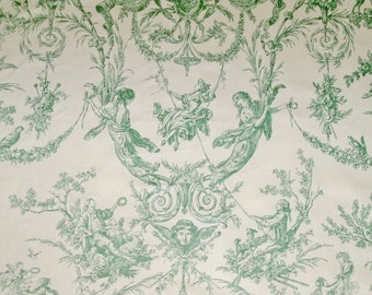 THIBAUT ROCKWOOD ROMANTIC French Fragonard Toile Fabric 10.5 Yards Cream Green