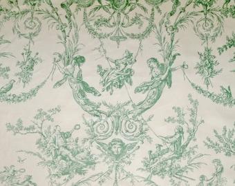 THIBAUT ROCKWOOD ROMANTIC French Fragonard Toile Fabric 10.5 Yards Cream Green