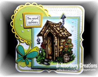 OOAK---Great Outdoors Outhouse Card + Matching Envelope Box