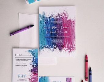 Modern Wedding Invitation - Colorful wedding invitation sample - {Hillsboro design}