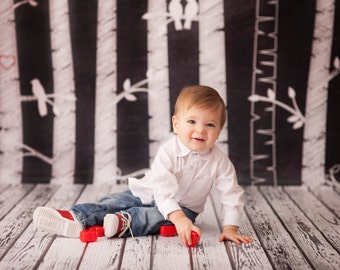Birch Wood Chalkboard -  Vinyl Photography  Backdrop Photo Prop