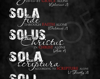 Scripture Art - The Five Solae Chalkboard Style