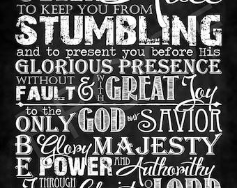 Scripture Art - Jude 24-25 Chalkboard Style