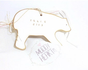 Polar Bear Personalized Ornament White And 22k Gold Minimal Custom Holiday Christmas Gift Keepsake Decor Porcelain Pottery MADE TO ORDER