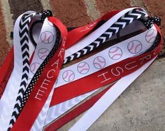 Personalized Embroidered Baseball Ponytail Streamers