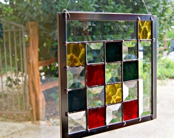 Geometric Stained Glass Panel Glass Bevels Home Decor Contemporary Stained Glass Window Modern Art Pixels