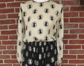1980s silk dress two-tone cameo print sz M