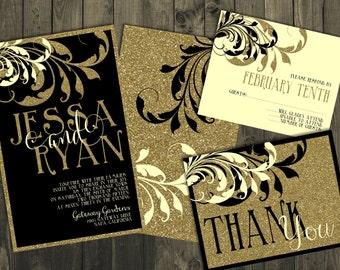 Black and Gold Wedding Invitations, Wedding Invitations, Gold Wedding Invitations, Gold Wedding Invitations, Glitter Wedding Invitations