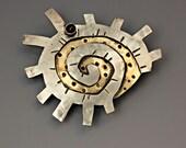 Sun Pin, Spirial Sun Pin, Aztec Style Jewelry, Silver Sun Pin, RP0277PN