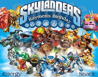 Personalized Skylander Birthday Labels - Printable File