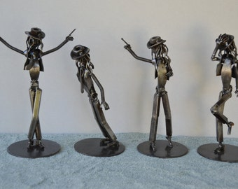 Hand Made MICHAEL JACKSON MJ 7 Inches  Recycled Scrap Metal Dancing