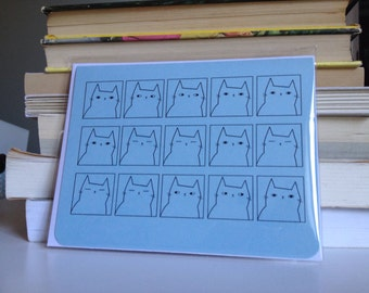Apathetic Cat Series - Cat faces greeting card for any occasion