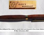 Ballpoint Pen Cobalt Gold, Cross Grain Walnut