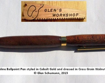 Ballpoint Pen Handmade Twist Pen Cobalt Gold, Cross Grain Walnut Cross Pen