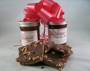 Toffee. Half lb. Toffee w/Dark Chocolate Pecans, Sea Salt  & Two Jams of your choice FREE SHIPPING. Holiday Gift, gift idea,party gift