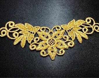 Gold Metallic Floral Applique, Lace Applique, Gold Applique, Metallic Applique, Floral Applique, Lace Collar  G29-444